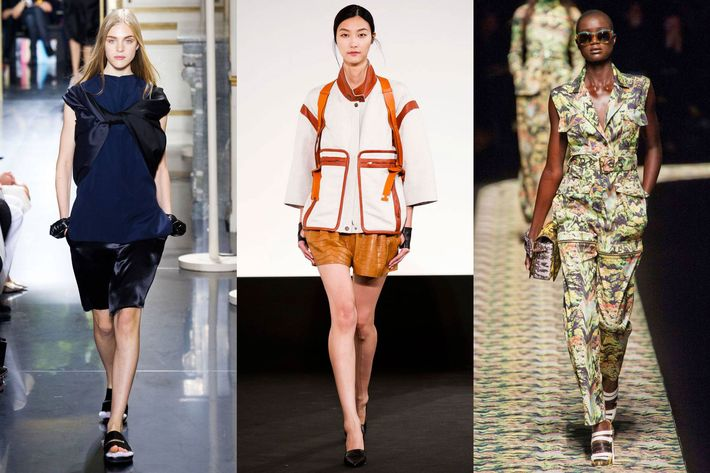 From left: Spring looks from Celine, Hermes, and Kenzo.