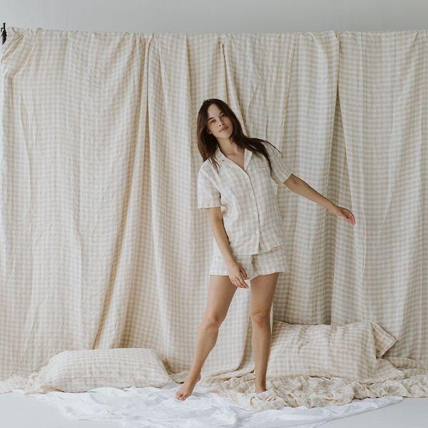 Morrow Cream Gingham Sleepwear Set
