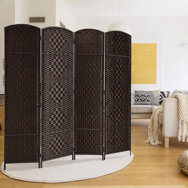 Rose Home Fashion Diamond Weave 4-Panel Room Divider, Dark Coffee