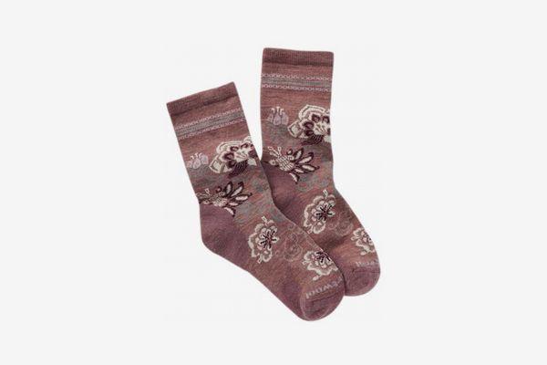 Womens Blooming Botanical Wool Blend Crew Socks, Rose