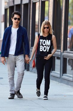 Kate Mara seen wearing a Tom Boy tank top while out with her boyfriend Max Minghella in the East Village neighborhood of NYC.