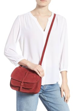 Leith Suede Cross-body Saddle Bag