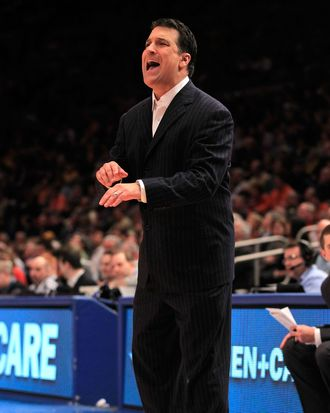 NEW YORK, NY - MARCH 10: Head coach Steve Lavin of the St. John's Red Storm gestures from the bench during the first half against the Syracuse Orange during the quarterfinals of the 2011 Big East Men's Basketball Tournament presented by American Eagle Outfitters at Madison Square Garden on March 10, 2011 in New York City. (Photo by Chris Trotman/Getty Images) *** Local Caption *** Steve Lavin