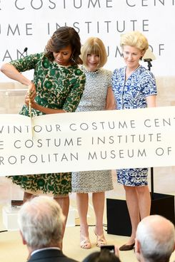 (L-R) First Lady of the United States Michelle Obama, Vogue Editor in Chief Anna Wintour and Metropolitan Museum of Art President Emily K. Rafferty attend the Anna Wintour Costume Center Grand Opening at the Metropolitan Museum of Art on May 5, 2014 in New York City.