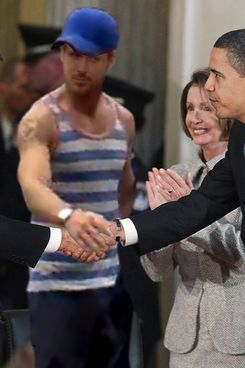 WASHINGTON - FEBRUARY 12:  U.S. President Barack Obama (R) shakes hands with House Republican Leader John Boehner (R-OH) (L) while  House Speaker Nancy Pelosi (D-CA) stands nearby during a ceremony in the Rotunda of the U.S. Capitol Building February 12, 2009 in Washington DC. The ceremony was held to celebrate the 200th anniversary of the birth of Abraham Lincoln.  (Photo by Mark Wilson/Getty Images)