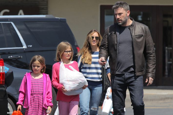 Ben Affleck with his children and their former nanny.