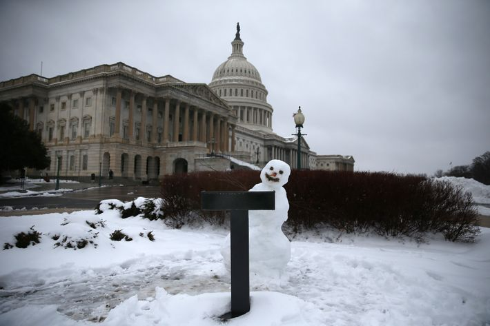 A snowman sits where Congressman sometimes hold their news conferences on the House side of the U.S. Capitol, on February 13, 2014 in Washington, DC.