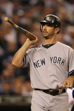 DETROIT, MI - OCTOBER 04: Jorge Posada #20 of the New York Yankees reacts after getting hit by a pitch during the thid inning of Game Four of the American League Divison Series against the Detroit Tigers at Comerica Park on October 4, 2011 in Detroit, Michigan.  The Yankees defeated the Tigers 10-1.  (Photo by Leon Halip/Getty Images)