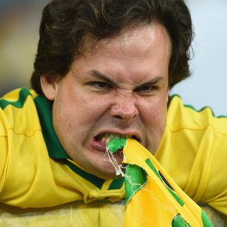 BELO HORIZONTE, BRAZIL - JULY 08: An emotional Brazil fan reacts after being defeated by Germany 7-1 during the 2014 FIFA World Cup Brazil Semi Final match between Brazil and Germany at Estadio Mineirao on July 8, 2014 in Belo Horizonte, Brazil. (Photo by Laurence Griffiths/Getty Images)