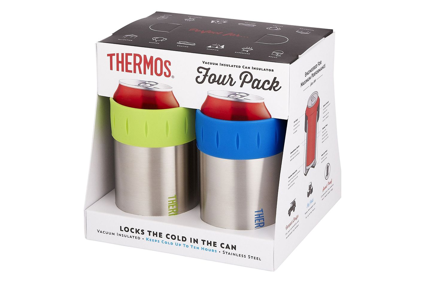 Thermos Stainless Vacuum Insulated 12-Ounce Can Insulator (Set of 4)