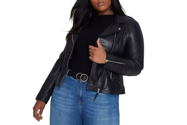 River Island Plus black leather biker jacket