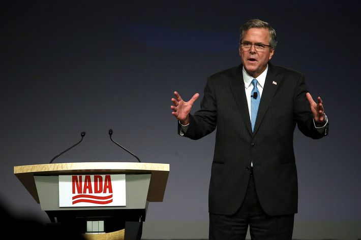 Former Florida governor Jeb Bush speaks during the 2015 National Auto Dealers Association (NADA) conference on January 23, 2015 in San Francisco, California.
