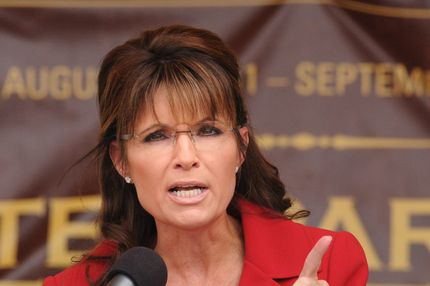 MANCHESTER, NH - SEPTEMBER 05: Former Alaska governor Sarah Palin speaks at a Tea Party Express rally on September 5, 2011 at Veteran's Memorial Park in Manchester, New Hampshire. The rally is part of the 'Reclaiming America' bus tour traveling through 19 states and visiting 29 cities before arriving in Tampa, Florida for a presidential debate co-sponsored by CNN on September 12.  (Photo by Darren McCollester/Getty Images)