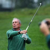 New York Michael Bloomberg was part of Tiger Woods's group during the Pro-Am tourney of the Deutsche Bank Championship at TPC Boston in Norton, Thursday, Aug. 29, 2013.