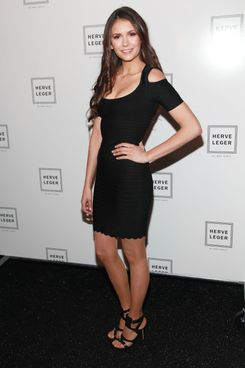 Nina Dobrev backstage at the Herve Leger fall/winter 2012 collection