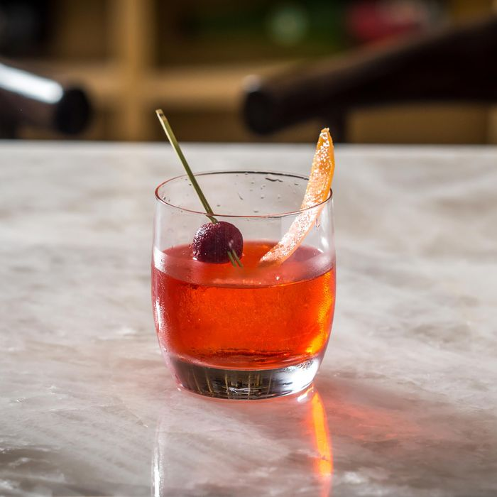 The Ume cocktail, a spin on the Negroni made with Hendricks gin and umeshu (plum wine).