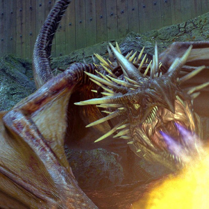 The Hungarian Horntail Dragon in a scene from Warner Bros. Pictures' fantasy