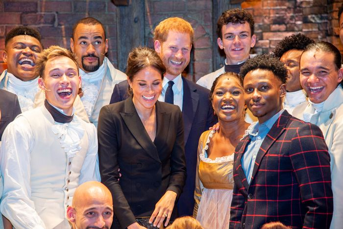 Meghan Markle and Prince Harry with the Hamilton cast.