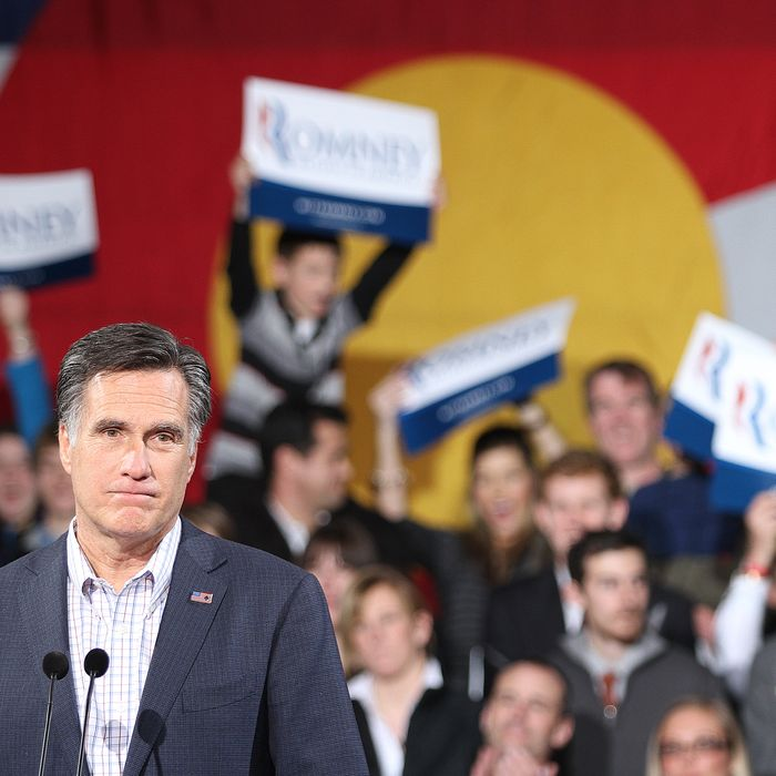 DENVER, CO - FEBRUARY 7: Republican presidential candidate, former Massachusetts Gov. Mitt Romney speaks to supporters at a rally in the Tivoli Student Union on the Auraria Campus on February 7, 2012 in Denver, Colorado. According to early results, Santorum defeated former Massachusetts Gov. Mitt Romney, former Speaker of the House Newt Gingrich and U.S. Rep. Ron Paul (R-TX) in Missouri, Minnesota and is in a tight race with Romney in Colorado. (Photo by Marc Piscotty/Getty Images)