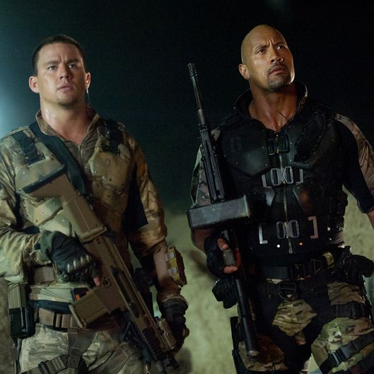 Left to right: Channing Tatum plays Duke and Dwayne Johnson plays Roadblock in G.I. JOE: RETALIATION, from Paramount Pictures, MGM, and Skydance Productions. GR-02191R