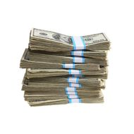 ACEBM8 Stack of bundled 100 dollar bills