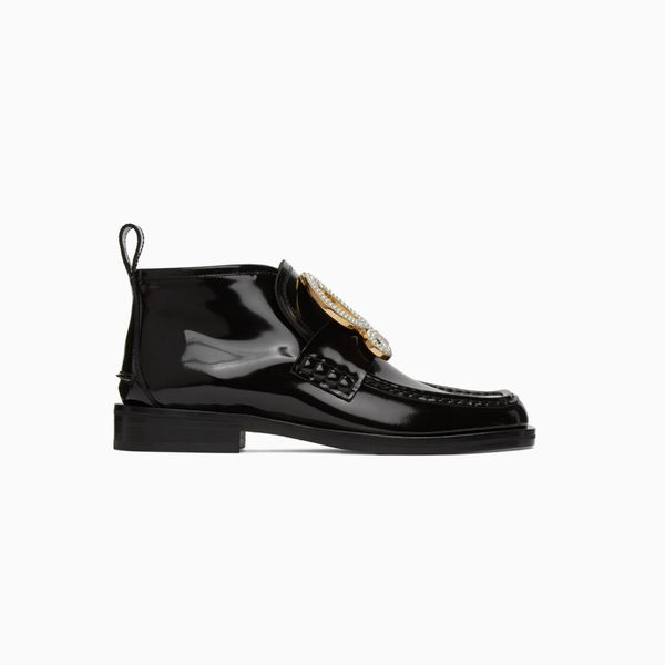 Loewe Black Patent Calfskin High-Top Loafers