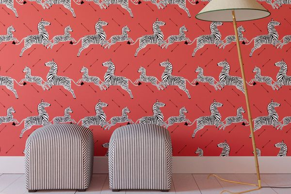 The Inside Peel and Stick Wallpaper Roll, Coral Zebra By Scalamandré