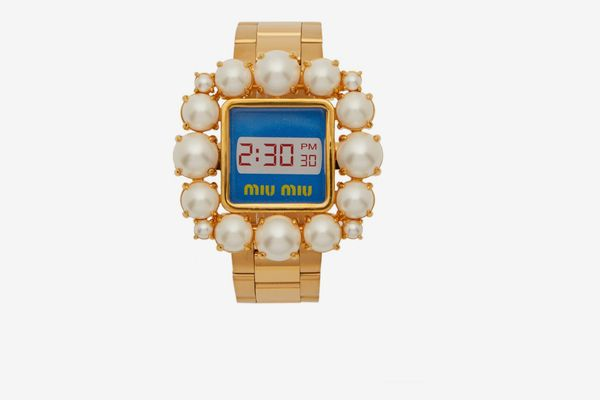 Miu Miu Faux Pearl-Embellished Watch Bracelet