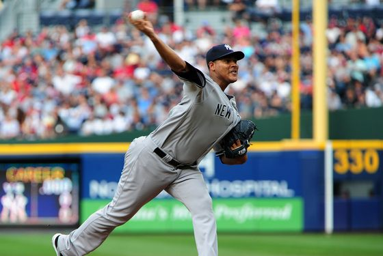 ATLANTA, GA - JUNE 11: Ivan Nova #47 of the New York Yankees pitches against the Atlanta Braves at Turner Field on June 11, 2012 in Atlanta, Georgia. (Photo by Scott Cunningham/Getty Images)
