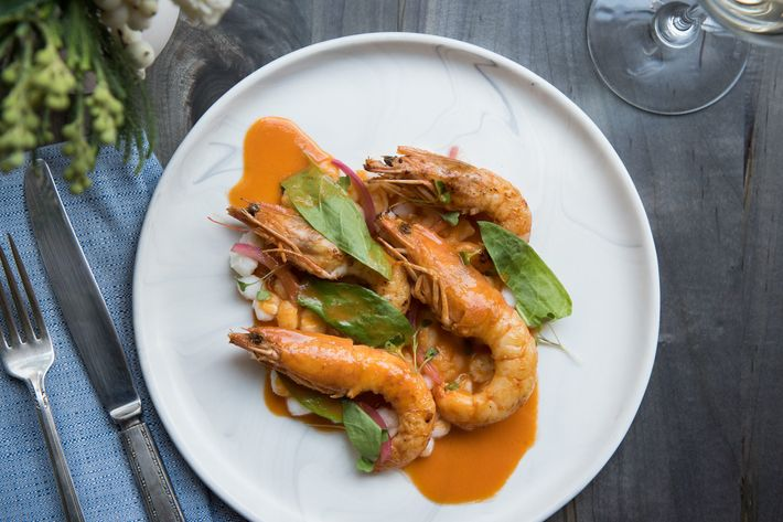 Whole Shrimp With Hominy And Cortez Sauce Photo Liz Clayman