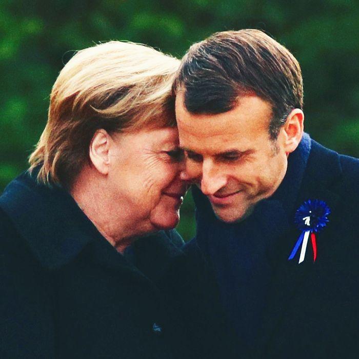 Angela Merkel, Emmanuel Macron.
