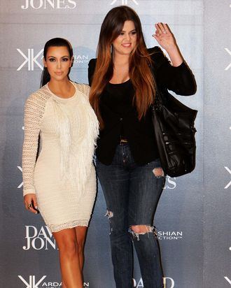 Kim and Khloe at a handbag launch event in Sydney last month.