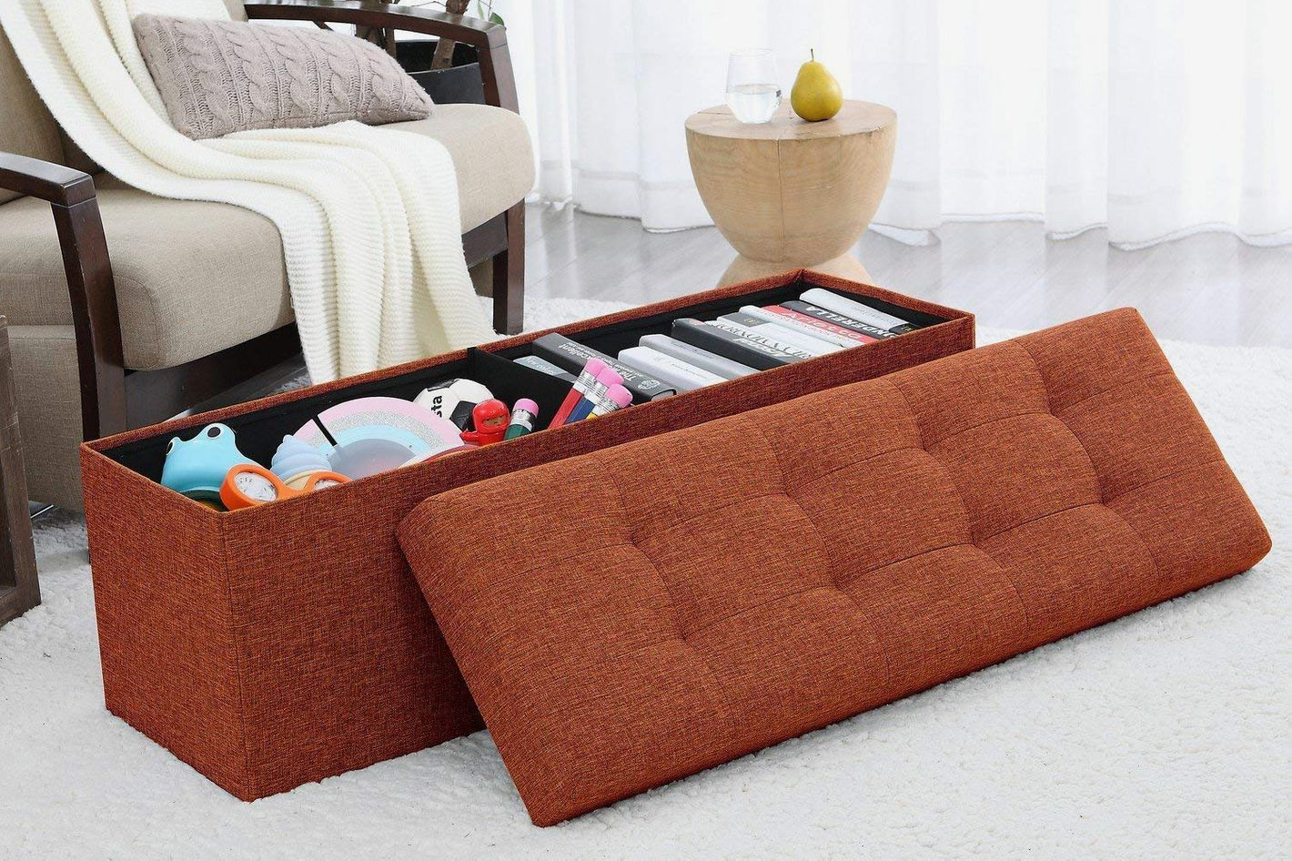 Ellington Home Foldable Tufted Linen Large Storage Ottoman Bench