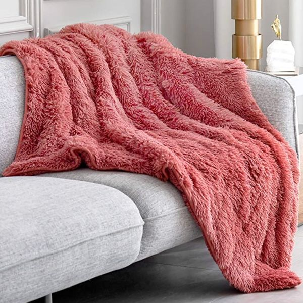 Topblan Fuzzy Sherpa Faux Fur 15lbs Weighted Blanket