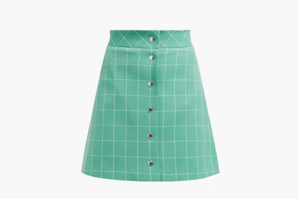 Sara Battaglia High-Rise Checked Mini Skirt