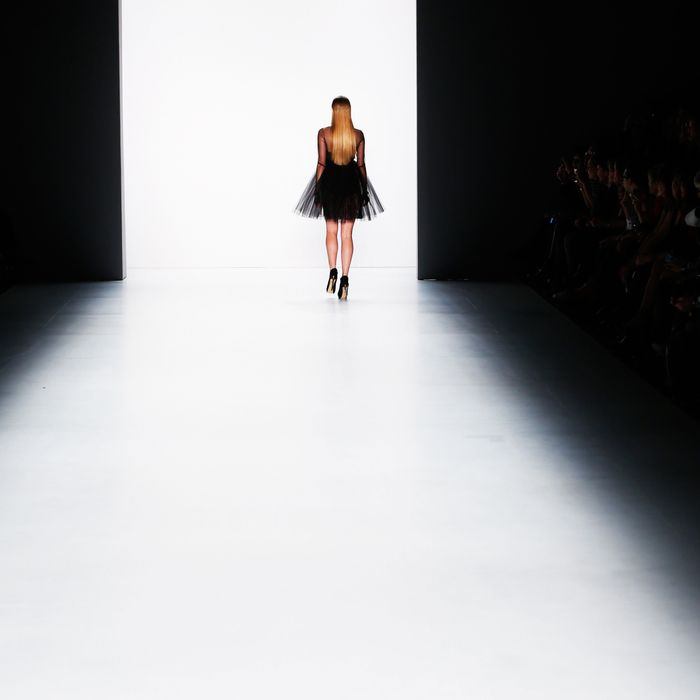 A model walks the runway at the Irene Luft show during the 2015 Mercedes-Benz Fashion Week in Berlin.
