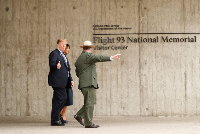 Trump giving a thumbs up at a 9/11 memorial.