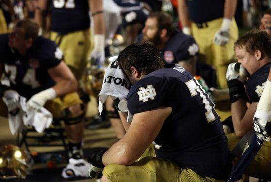 The Notre Dame Fighting Irish look on after losing against the Alabama Crimson Tide by a score of 42-14 inthe 2013 Discover BCS National Championship game at Sun Life Stadium on January 7, 2013 in Miami Gardens, Florida.