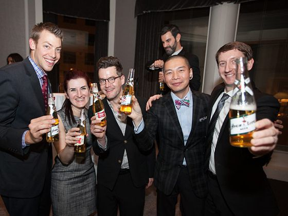 The victors enjoying the Champagne of beers: Dan Pilkey (Waldorf Astoria), Jean Tomaro (Gilt Group), Jeremy Quinn (Telegraph), Arthur Hon (Sepia) and Chad Ellegood (NoMI Kitchen).