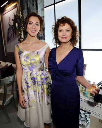 Bride-to-be Eva and mom Susan at Lela Rose.