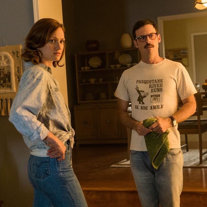 Kerry Bishe as Donna Clark, Scoot McNairy as Gordon Clark- Halt and Catch Fire _ Season 3, Episode 6- Photo Credit: Tina Rowden/AMC