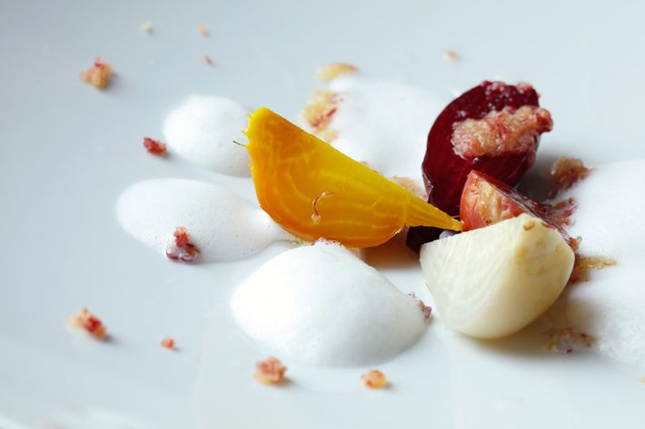 Baked beets with coffee oil and horseradish foam.