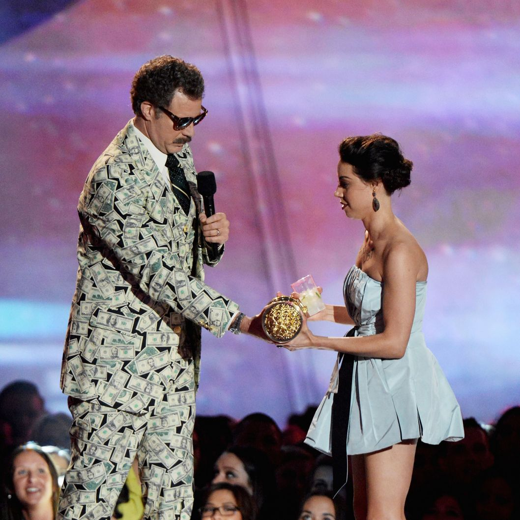 CULVER CITY, CA - APRIL 14:  Actor Will Ferrell (L) and actress Aubrey Plaza speak onstage during the 2013 MTV Movie Awards at Sony Pictures Studios on April 14, 2013 in Culver City, California.  (Photo by Jeff Kravitz/FilmMagic)