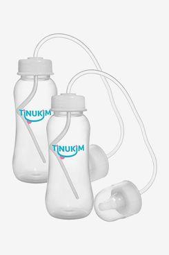 Tinukim Self Feeding Baby Bottle with Tube (9 Ounce )- 2-Pack