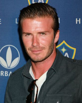 David Beckham, probably not wearing tights, but who knows.