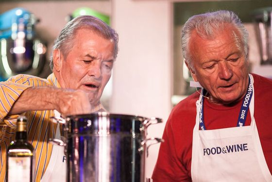 Chefs Jacques Pépin and Jean-Claude Szurdak challenge (and eventually win) face-off against Bobby Flay and Michael Symon in Sunday's Classic Cook-Off.