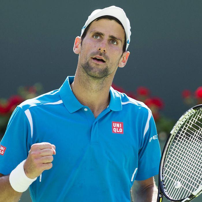 Novak Djokovic sans foot in mouth.
