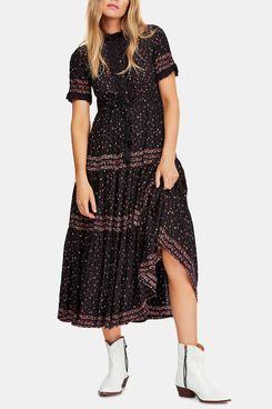 Free People Rare Feeling Pleated Printed Dress