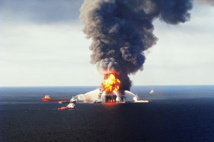 Fire at BP oil rig. (U.S. Coast Guard/Getty Images)