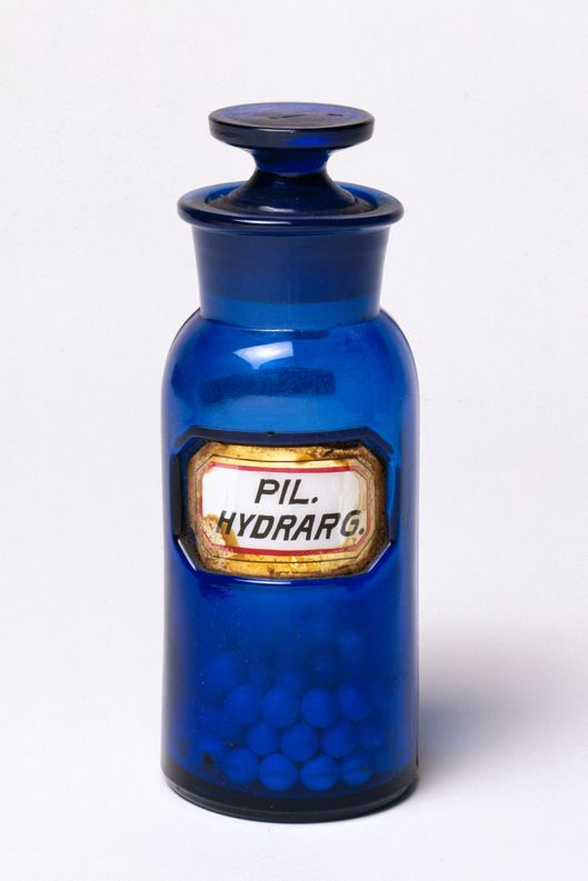 UNITED KINGDOM - NOVEMBER 15:  Stoppered bottle for storing mercury pills made by W N Walton.  (Photo by SSPL/Getty Images)